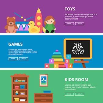 Banner horizontal definido com brinquedos para crianças