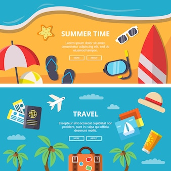 Banner horizontal definido com fotos de horário de verão e ícones de viagens