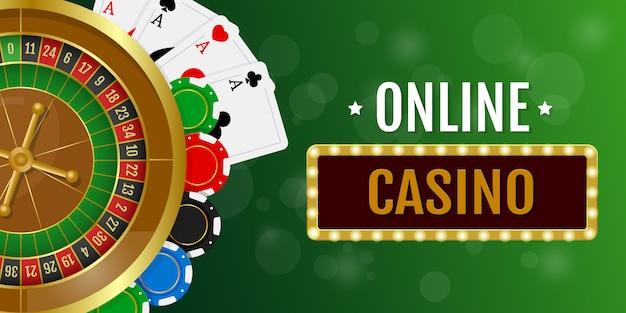 Banner horizontal do cassino online. roleta de cassino com fichas e cartões de jogo.