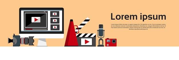 Banner horizontal do conceito de blog de vídeo