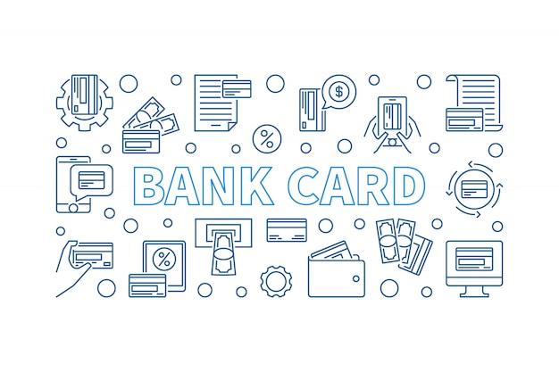 Banner horizontal do conceito de contorno de cartão de banco. icon ilustração