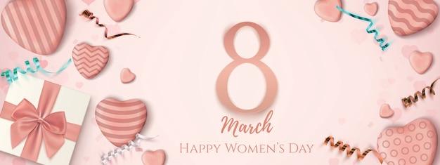 Banner horizontal do dia da mulher feliz de março.