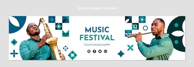 Banner horizontal do festival de música mosaico plano twitch