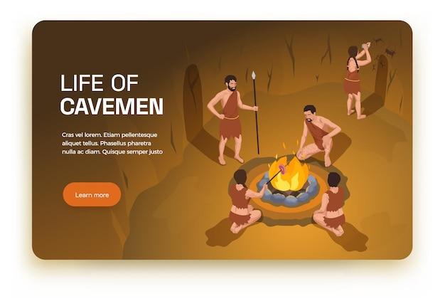 Banner horizontal do homem das cavernas pré-histórico de povos primitivos com texto editável do botão saiba mais e cenário de caverna interna