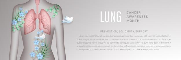 Banner horizontal do mês de conscientização do câncer de pulmão com silhueta de mulher em estilo de corte de papel