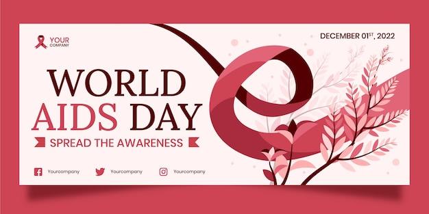 Banner horizontal e horizontal desenhado à mão para o dia mundial da aids