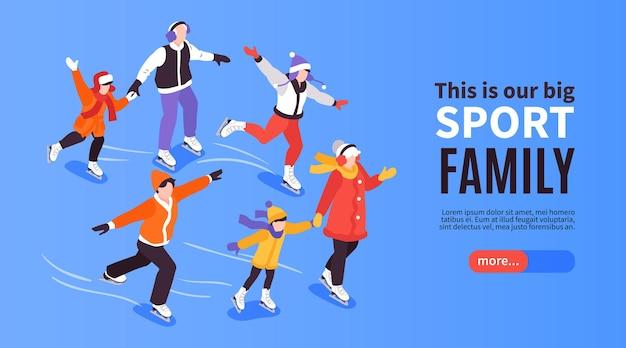 Banner horizontal familiar de geração isométrica com pais e filhos patinando no gelo com botão e texto