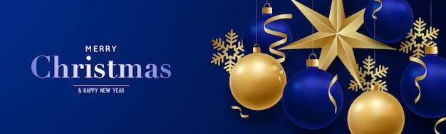 Banner horizontal feliz natal e feliz ano novo