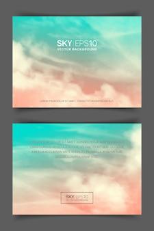 Banner horizontal frente e verso com nuvens e céu azul-rosa realista.