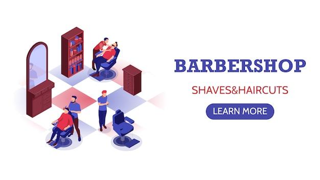 Banner horizontal isométrica com estilistas fazendo corte de cabelo e barba na barbearia