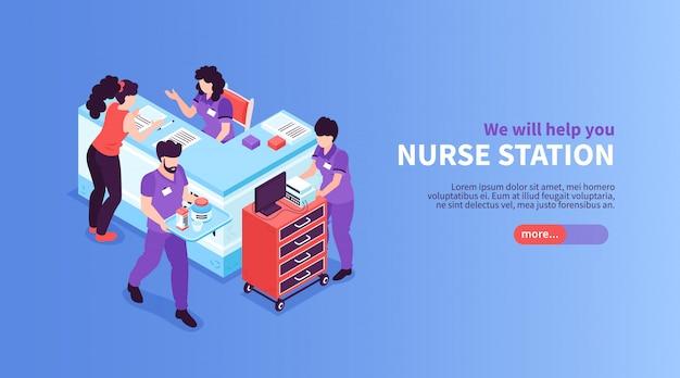 Banner horizontal isométrica hospital com botão deslizante texto editável e vista da área de recepção com carrinhos ilustração em vetor