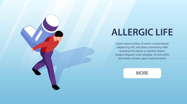 Banner horizontal isométrico com homem alérgico segurando remédio para asma