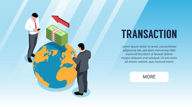 Banner horizontal isométrico com pessoas fazendo transações bancárias