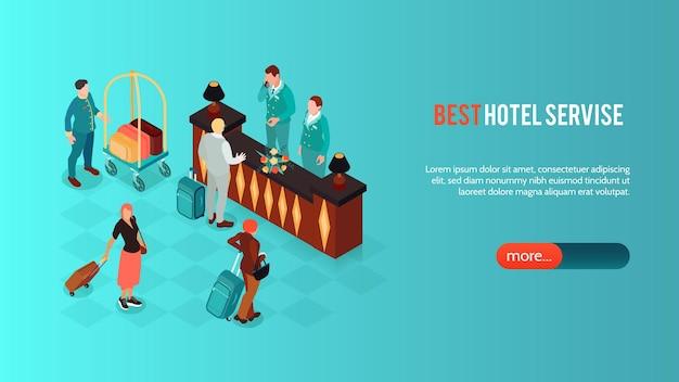 Banner horizontal isométrico de hotel com imagens de recepção vintage com texto e botão de caracteres humanos