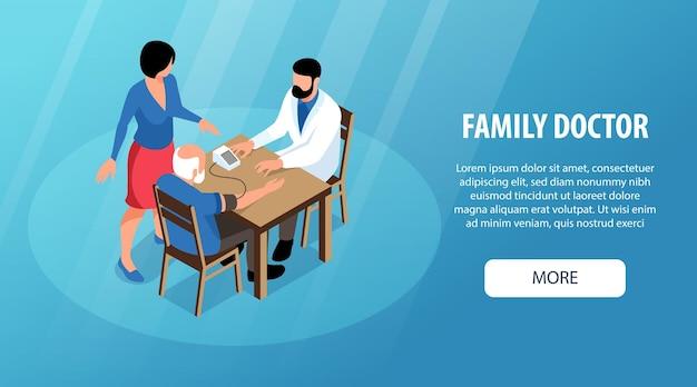Banner horizontal isométrico de médico de família com caracteres sem rosto de mulher paciente sênior e ilustração de texto editável