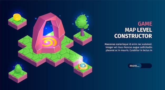 Banner horizontal isométrico de paisagem de jogo com plataformas e construtor de mapa de jogo