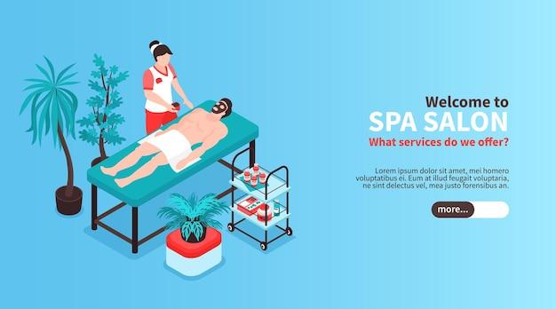 Banner horizontal isométrico de salão de beleza com texto do botão deslizante e imagens de tratamento de spa com pessoas
