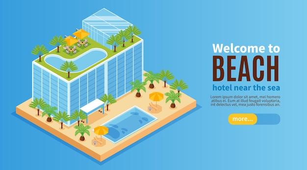 Banner horizontal isométrico do parque aquático de hotel com edifício com piscinas