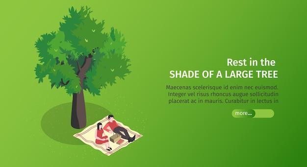 Banner horizontal isométrico do parque da cidade com botão deslizante de texto editável e casal deitado sob a árvore