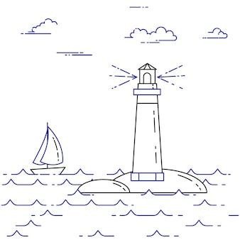 Banner horizontal itinerante com veleiro em ondas, farol e nuvens. elementos de arte de linha plana. ilustração vetorial. conceito de viagem, turismo, agência de viagens, hotéis, iates, cartão de recreação.