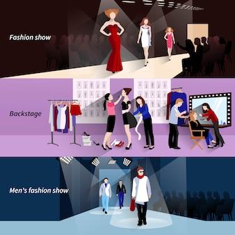 Banner horizontal modelo de moda com elementos de bastidores de show plano