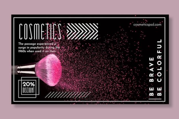 Banner horizontal para produtos cosméticos com pincel de maquiagem