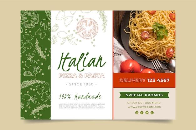 Banner horizontal para restaurante de comida italiana