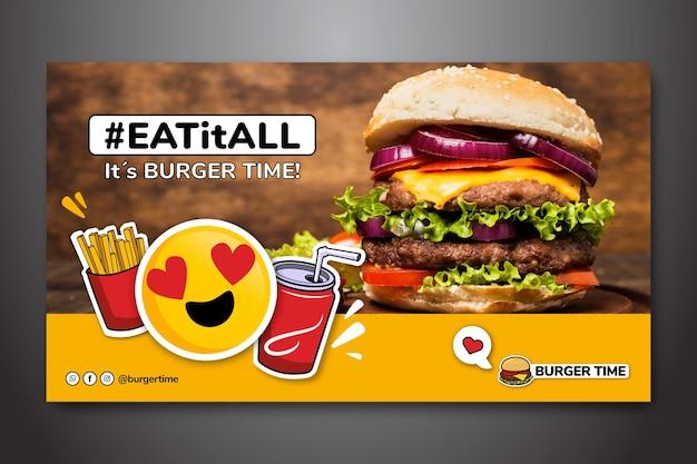 Banner horizontal para restaurante de hambúrguer