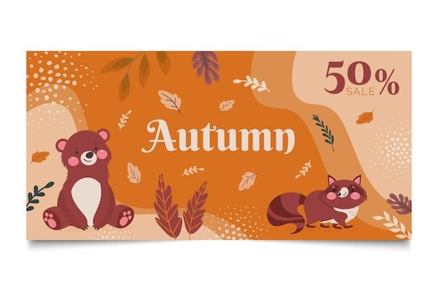 Banner horizontal plano de outono desenhado à mão tenokate
