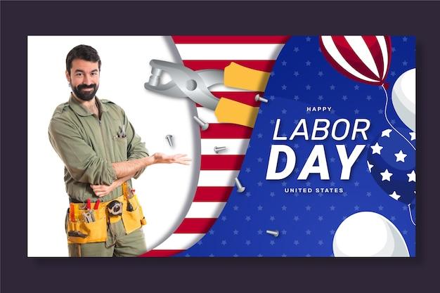 Banner horizontal plano do dia do trabalho com foto