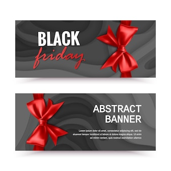 Banner horizontal preto sexta-feira com laço vermelho banners de venda preto sexta-feira
