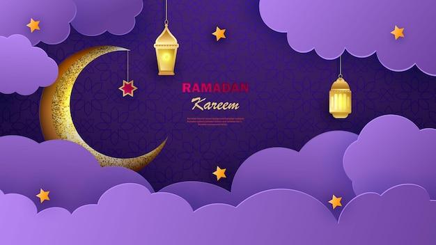 Banner horizontal ramadan kareem com estrelas e nuvens arabescas em 3d