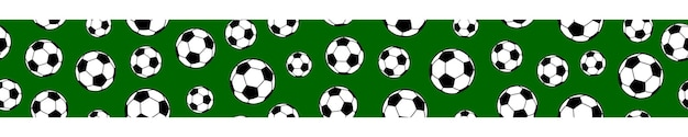 Banner horizontal sem costura de bolas de futebol sobre fundo verde.