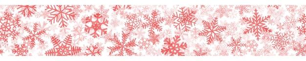 Banner horizontal sem costura de natal de muitas camadas de flocos de neve de diferentes formas, tamanhos e transparência. vermelho sobre branco