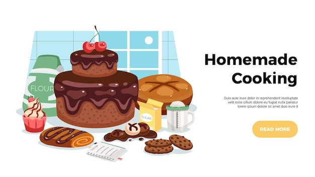 Banner horizontal web de culinária caseira com ilustração plana de composição artística de deliciosos pastéis doces prontos