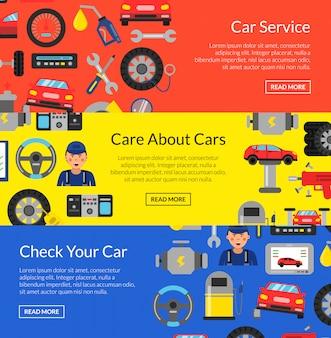 Banner horizontal web definida com elementos de serviço de carro de estilo simples