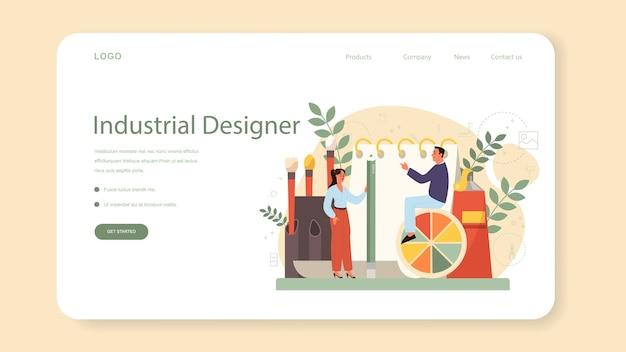 Banner industrial ou página inicial da web. artista criando objeto de ambiente moderno. projeto de usabilidade do produto, desenvolvimento de fabricação.