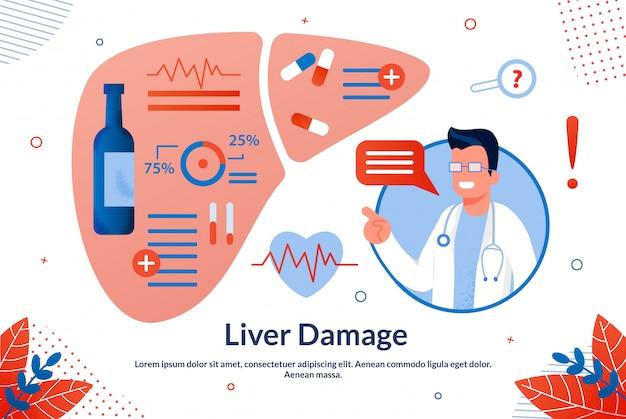 Banner informativo é escrito danos no fígado plana.