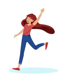 Banner informativo menina adolescente se alegra dos desenhos animados.
