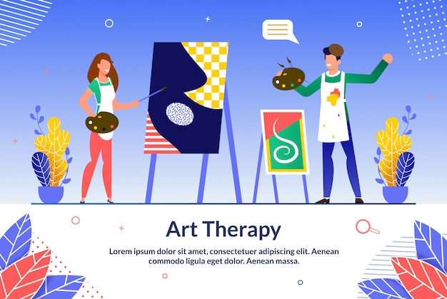 Banner informativo on-line art therapy training.