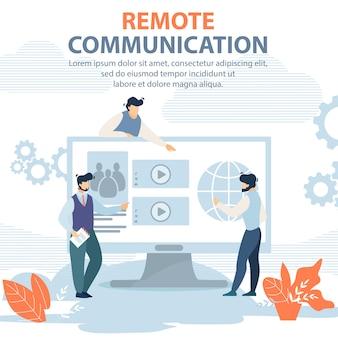 Banner inscrição de comunicação remota vector