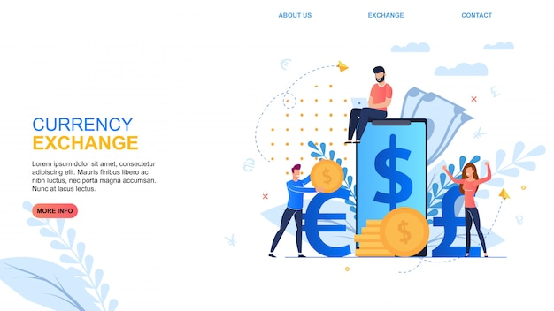 Banner inscription currency exchange desenhos animados