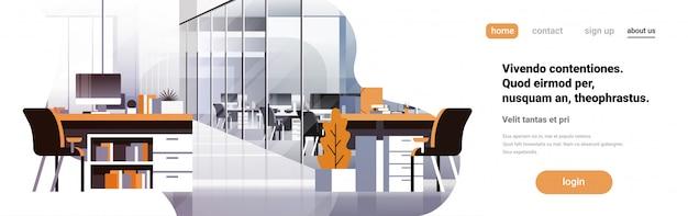Banner interior do escritório de coworking
