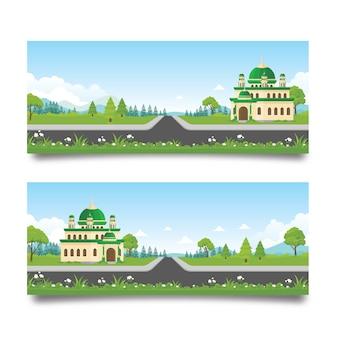 Banner islâmico com mesquita e paisagem natural