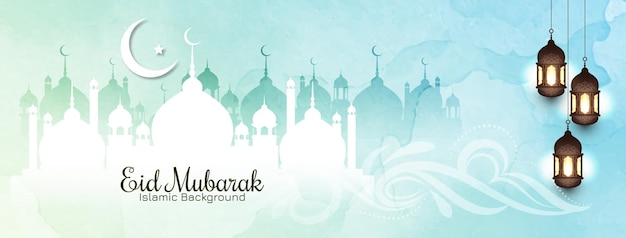 Banner islâmico eid mubarak em cores suaves