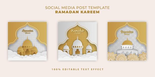 Banner islâmico ramadan kareem com corte de papel branco dourado