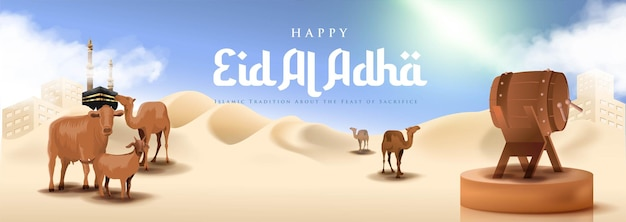 Banner islâmico realista de eid al adha mubarak com deserto e camelo