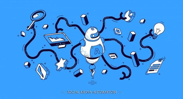 Banner isométrica de automação de mídia social. seo