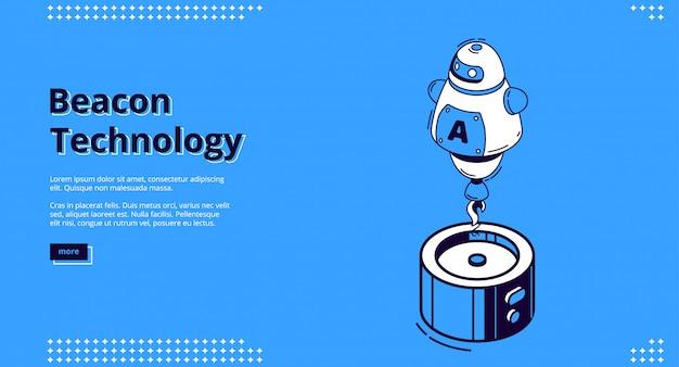 Banner isométrica de tecnologia de farol com robô