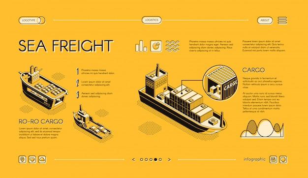 Banner isométrica web de transporte de carga de mar, horizontal, modelo de site de controle deslizante com ro-ro